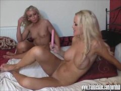 Gorgeous petite busty lesbian blondes masturbate with sex toys
