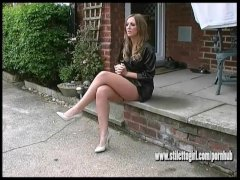 Sexy brunette with long legs wears high heels to make your fetish juice cum