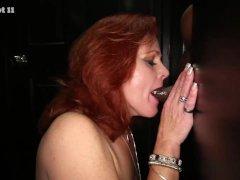Gloryhole Secrets Redhead Gilf swallows strangers cum