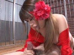 Subtitled Hikari Hino facesitting blowjob with gokkun finish