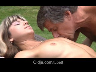 Young and skinny Gina Gerson fucks the old and big boned gardener!