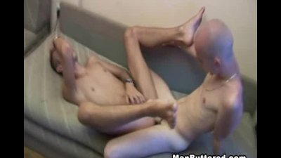 Twink Bareback Gay with Huge Man Goo on Face