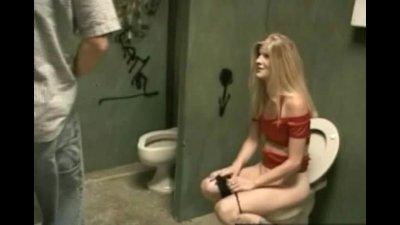 Lewd gal hard fucked in toilet