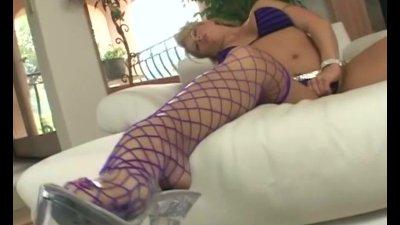 Masturbating in fencenet stockings