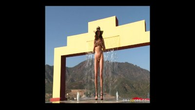 Busty Brunette Pornstar Ariella oils up her Big Ass and spreads it open