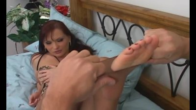 Ripped up crotchless pantyhose sex and foot fetish