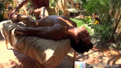 Sunburnt outdoor massage