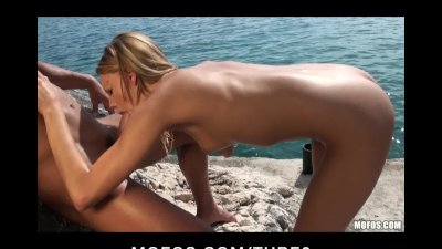 Sexy young blonde slut tanning outdoors gets her wet pussy fucked