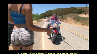 Cheating Young Teen slut girlfriend fucks biker's big hard dick