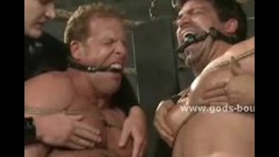 Strong gays tied in rope and leather and punished by pervert mast