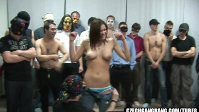 BUSTY GIRL AT CZECH GANG BANG