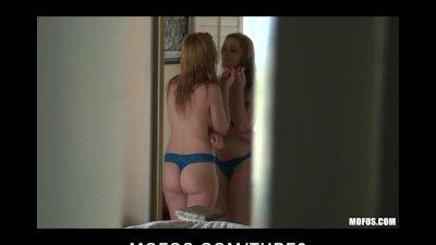 Hot busty blonde teen babe caught naked in shower fucks pervert