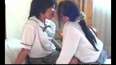 Two teen lesbian Asian girls f