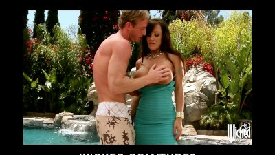 Bigboobed brunette MILF Lisan Ann fucks young cock by the pool