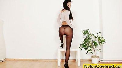 Sharon nylons fetish dildo masturbation video