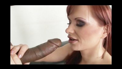 Big Black Cock for A Redhead With A Big Oiled Ass