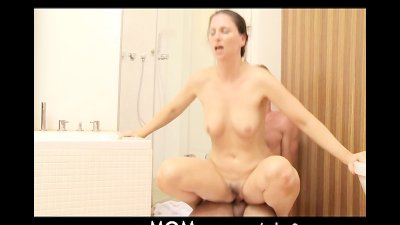 MOM Shower sex for MILF with young lover