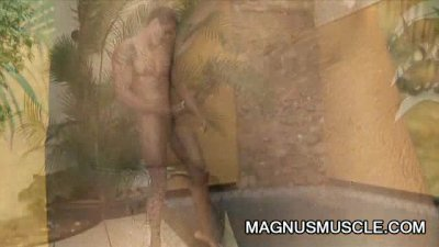 Latino dude William Carioca jerking off bedside the pool