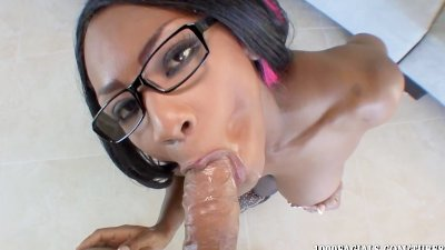 Hot Ebony babe Persia Black gets sticky cum facial