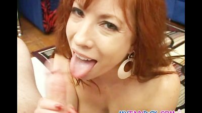 Busty milf so horny she eats his whole cock