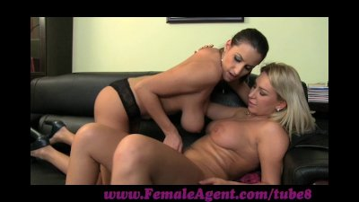 FemaleAgent. Brunette on blonde MILF casting