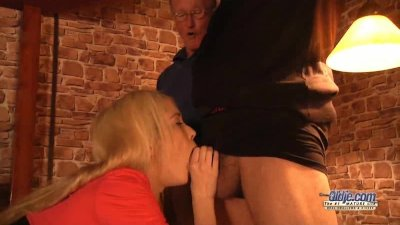 Young Tiffany Fox blows two old cocks