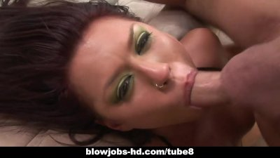 Beautiful Eva Angelina loving cock to her throat