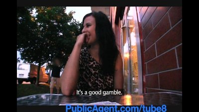 PublicAgent Sexy brunette gambles away her pussy