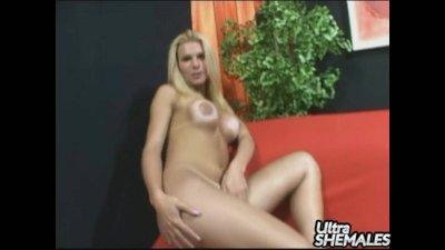 Sexy blonde shemale Samara