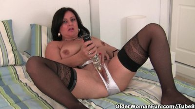 Hard nippled milf wears stockings and crotchless panties