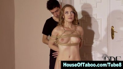 Watch this hot blonde hoe get dominated and tied up in hi def