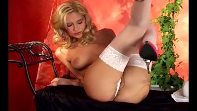 Petite blonde rubbing herself in white lingerie