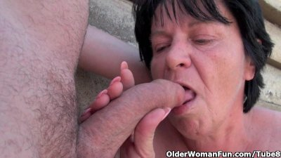 Blowjob Granny Cumshot video: Ugly grandma with 1 inch nipples fucked outdoors