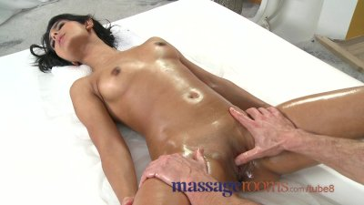 Massage Rooms Petite dark skinned beauty has multiple orgasms before facial