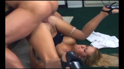 Busty office babe fucking in n