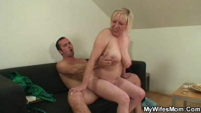 She finds her old mom sitting on her BF's dick