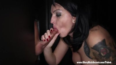 Gloryhole Secrets milf Kitty squirts giving BJs 2