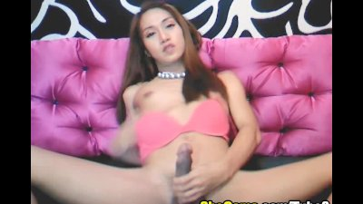Cute Shemale Playing her Dick