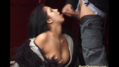 horny whore sucks cock on the