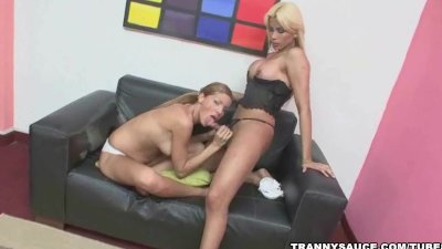 blonde shemale gets sucked off by a hot tranny babe