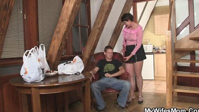 Cock hungry bitch seduces her son in law