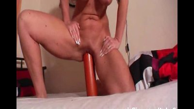 Giant salami fuck and outdoor