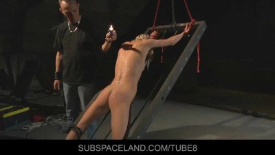 Skinny blonde restrained in bdsm for a hard fuck