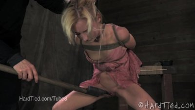 Petite Blonde Holds her Pee and Humiliated