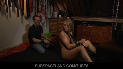 Cute slave trapped in a silence bondage
