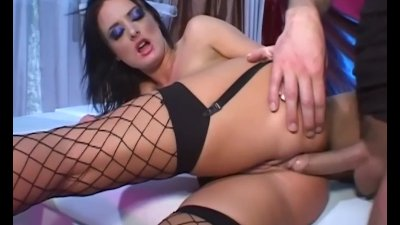 Petite babe anal in thigh high fencenet stockings