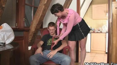 Cock-hungry granny seduces son in law