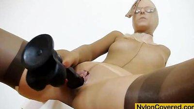 Slim blonde full in panty-hose