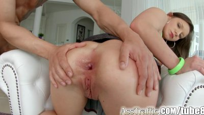 Busty Cumshot Doggystyle video: AssTraffic Anal newcomer gets her ass gaped by huge cock