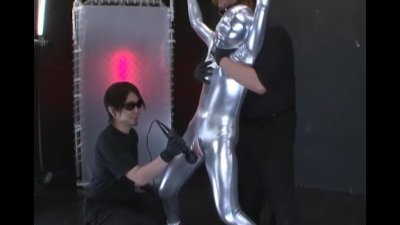 Silver fullbody suit and given